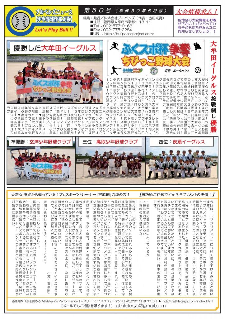 ブルペンズニュース【少年野球情報瓦版】第50号(8月号)-001